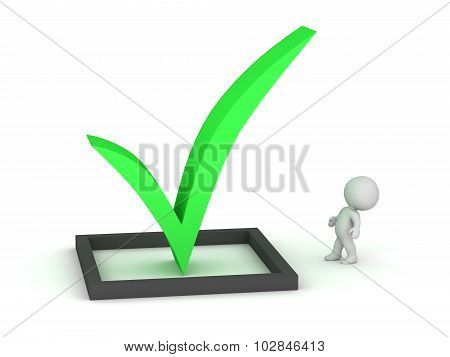 3D Character Looking Up At Very Large Green Check Symbol