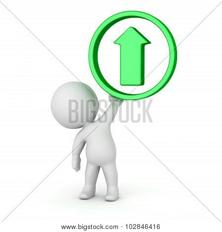 3D Character Holding Upload Arrow