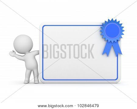 3D Character Waving From Behind Diploma With Ribbon