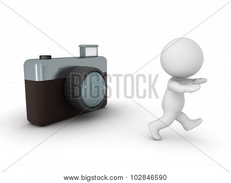 3D Character Running Away From Photo Camera