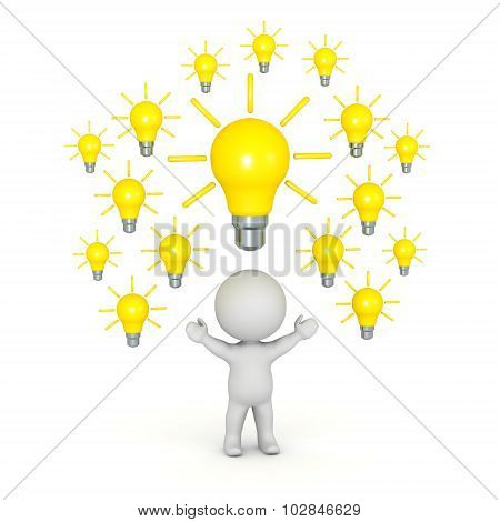 3D Character With Many Light Bulbs Above His Head