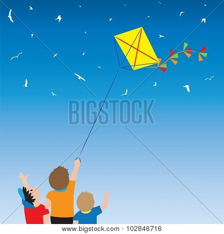 Children With A Kite And Birds In The Sky.