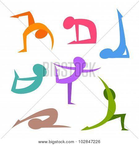 Yoga Positions Simple Silhouette Figure