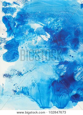 Blue Background With Artistic Strokes, Drops And Streaks