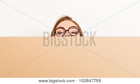Woman Moving In Carrying Box. Blank Copyspace.