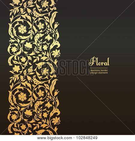 Vector seamless vintage design element. Floral border with stylized wildflowers.
