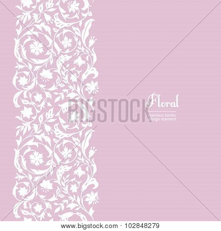 Vector seamless vintage design element. Floral border with stylized wildflowers. I