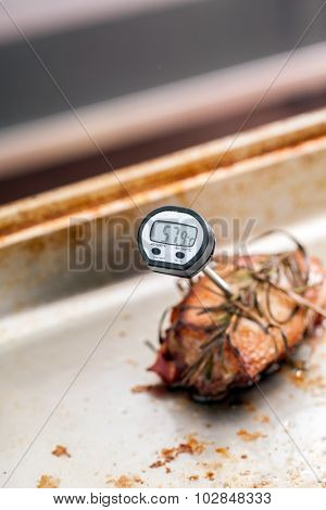 Meat thermometer in the meat