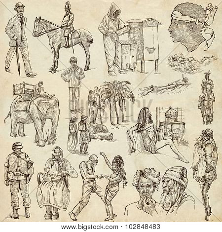 An Hand Drawn Pack, Line Art - People