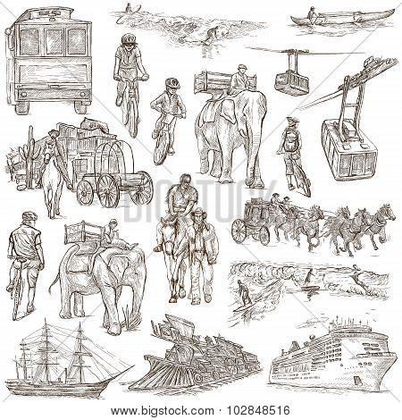 An Hand Drawn Pack, Line Art - Transport