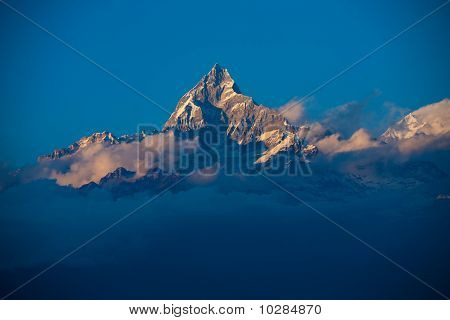 Machapuchre Himalayan Peak Clouds
