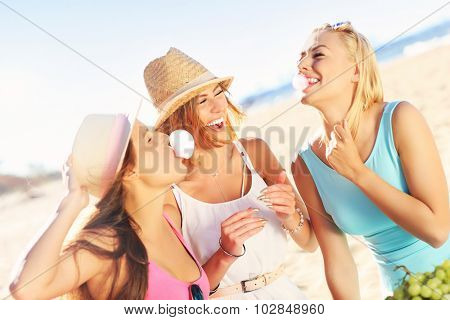 A picture of a group of friends having picnic on the beach