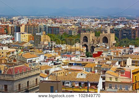View on Valencia city from the bell tower.
