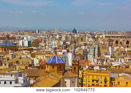 Aerial view on Valencia city from the bell tower.