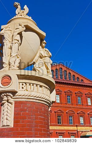 National Building Museum against a clear blue sky in Washington DC USA.