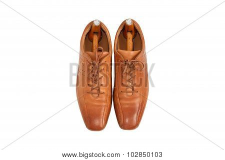 Male Fashion Leather Shoes And Shoe Trees Vintage Style On Top View ,white Background