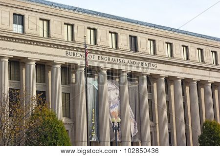 The building of Bureau of Engraving and Printing in Washington DC USA.