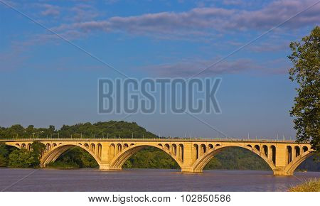 A view on Key Bridge over Potomac River from Georgetown Park in Washington DC.
