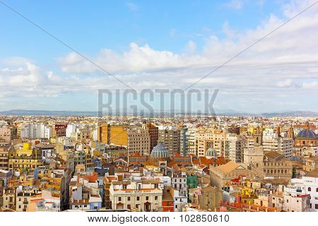 Aerial view on city landmarks of Valencia Spain.