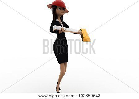 3D Woman Holding Axe Concept