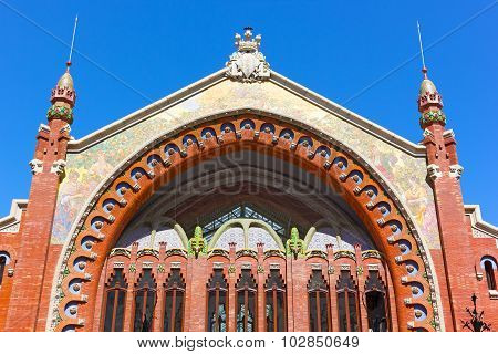 Facade of the Columbus Market Valencia Spain.