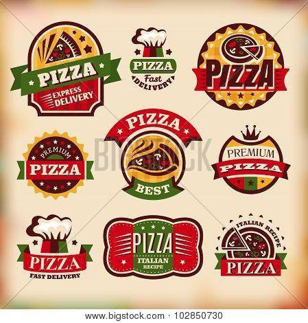 Set Of Vector Vintage Pizza Labels