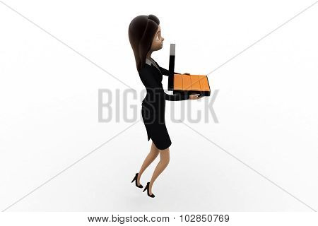 3D Woman Holding Briefcase Containing Gold Biscuts  Concept