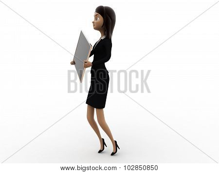 3D Woman Holding Black Board Concept