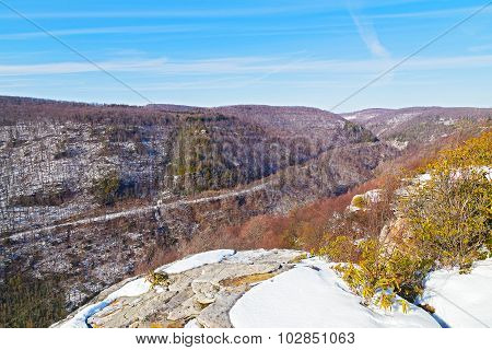 Allegheny Mountains range in West Virginia in winter, USA