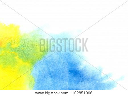 Abstract Yellow-blue Watercolor Splash