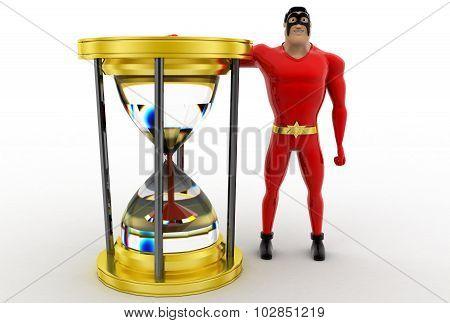 3D Superhero With Sand Clock Concept