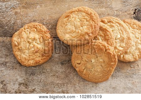 Fresh Baked Cookies On Rustic Wooden Table