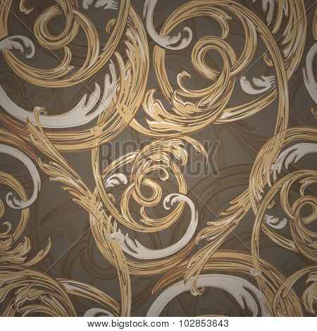 Decorative seamless pattern, barocco style.