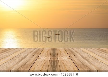 Wooden Board Empty Table sea and sky - can be used for display or montage your products.