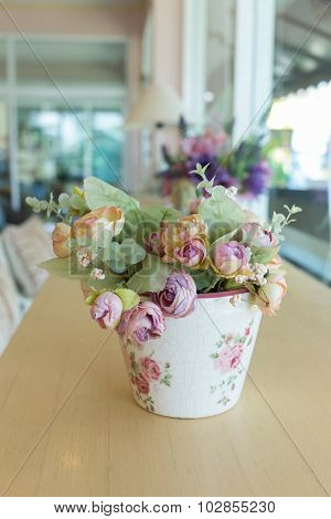 Flowers Vase Decoupage Decorated On Wooden Table At Living Room, Artificial Flowers In Vase
