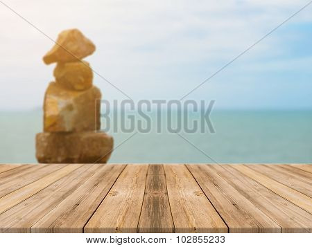 Vintage Wooden Board Empty Table sea and sky - can be used for display or montage your products.