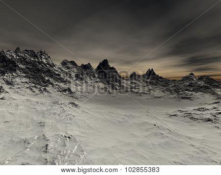 a few snow sharp rocks on the mountain