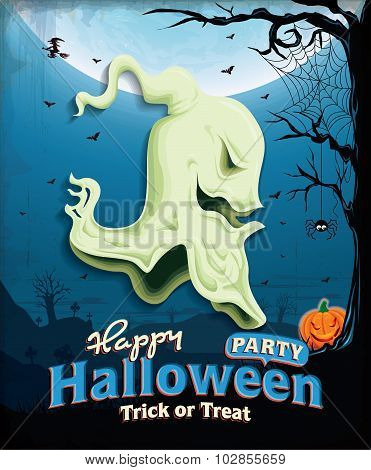 Vintage Halloween poster set design with ghost head