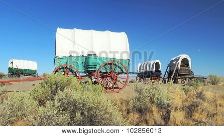 Covered Wagon Train Circled In Camp Along The Oregon Trail