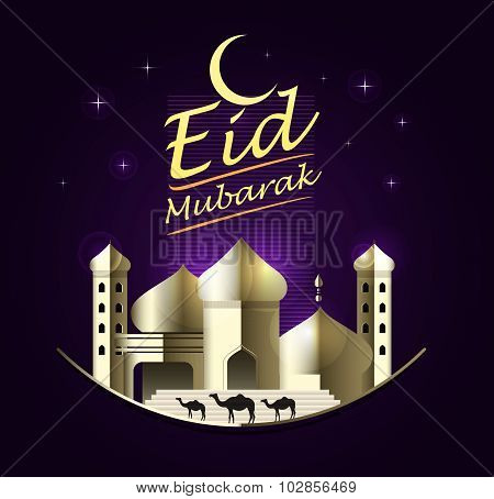 Eid Mubarak On Purple Background. Vector Illustration.