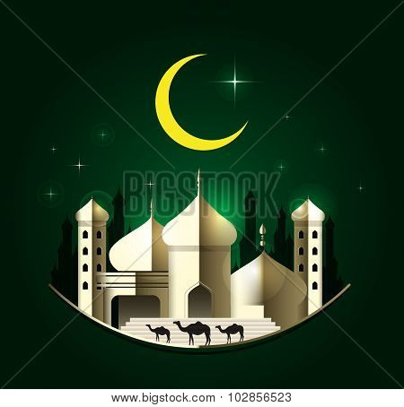 Eid Mubarak On Green Background. Vector Illustration.