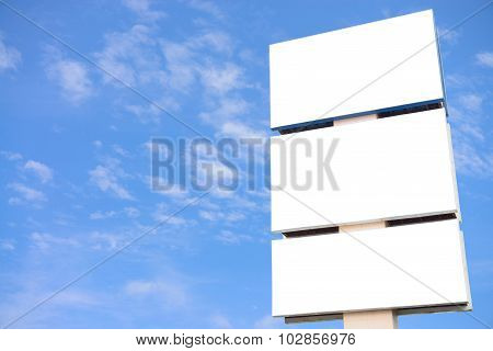 Blank Big Billboard Over Blue Sky Background, Put Your Text Advertisement Here.