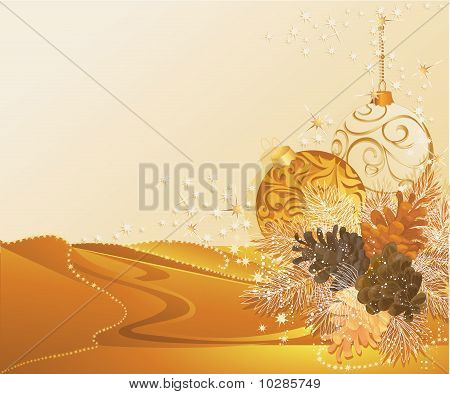 Gold Christmas With Pine Cones