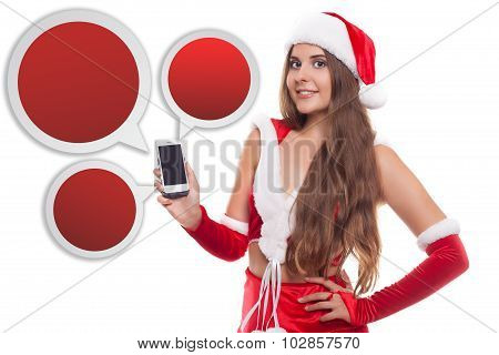 Pretty Young Caucasian Brunette Woman With Knitted Santa Hat Showing Smartphone. Ballon Smartphone C