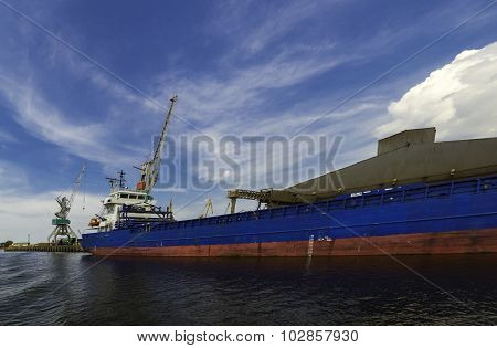 Ship at cargo terminal Liepaja Latvia
