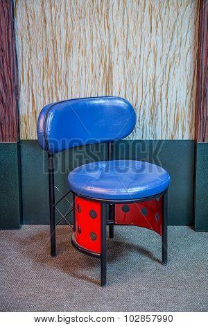 Modern unusual blue red stool