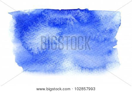 Vivid Blue Watercolor Stain With Watercolour Paint Splash