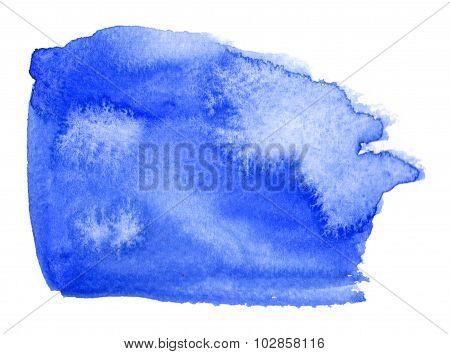 Colorfull Blue Watercolor Spot With Aquarelle Color Blotch