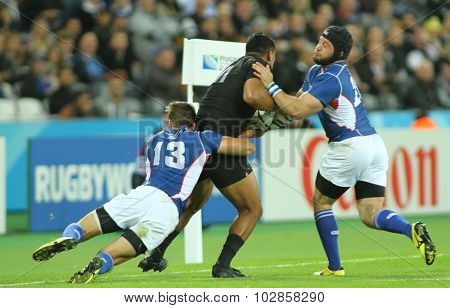 LONDON, ENGLAND - SEPTEMBER 24 2015: The 2015 Rugby World Cup Pool C match between New Zealand and Namibia at The Stadium, Queen Elizabeth Olympic Park