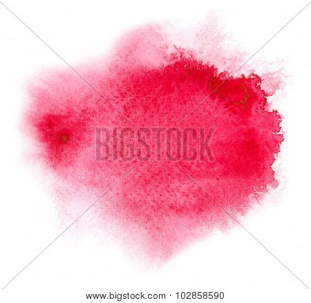 Red Watercolour Or Ink Stain With Watercolor Paint Splash